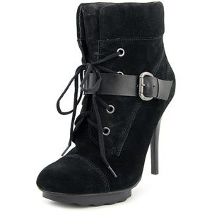 Guess Fontanna Stiletto Black Suede Lace Up Bootie